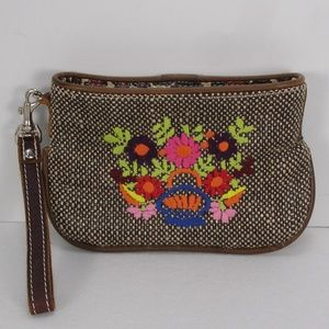 NEW CONSUELA EMBROIDERED FLOWERS WRISTLET CLUTCH